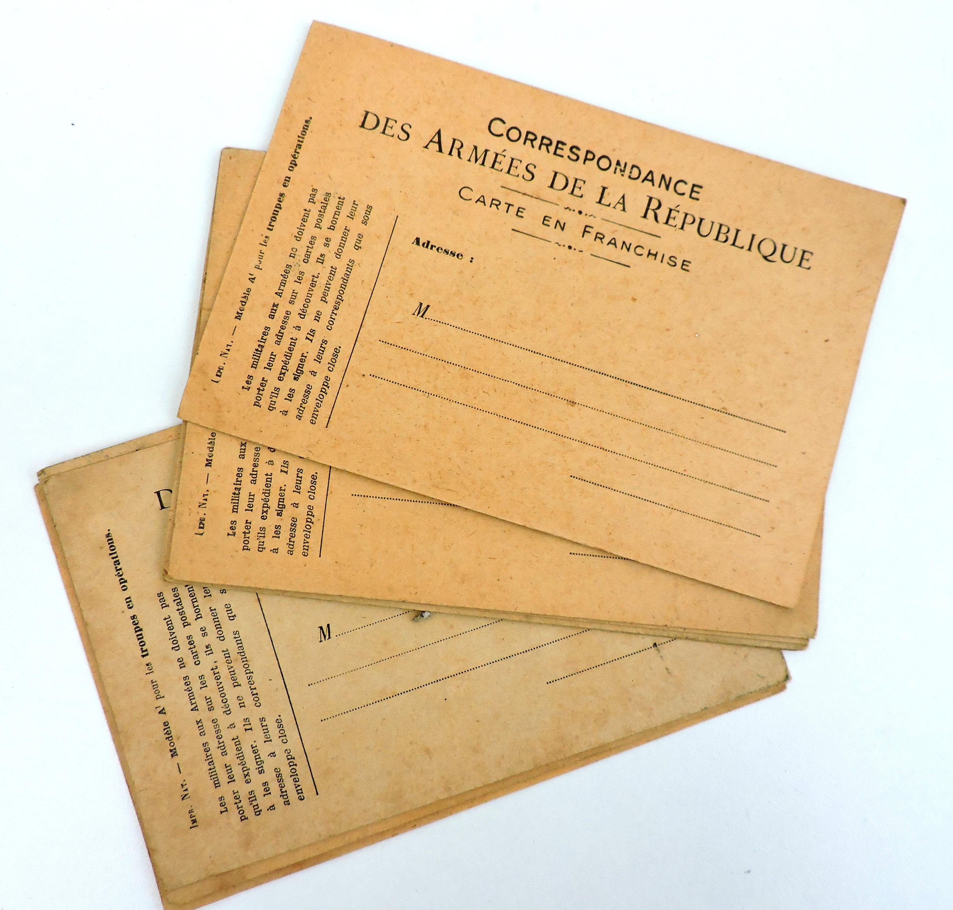 Carte postale vierge Correspondance des Armées de la République 14-18
